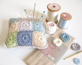 crochet pincushion... Mabel - shabby chic blue, beige, grey and green ...MADE TO ORDER
