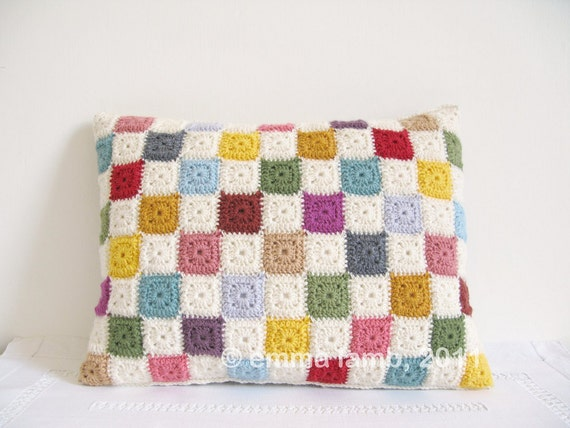 Luella... tiny squares, patchwork crochet cushion cover