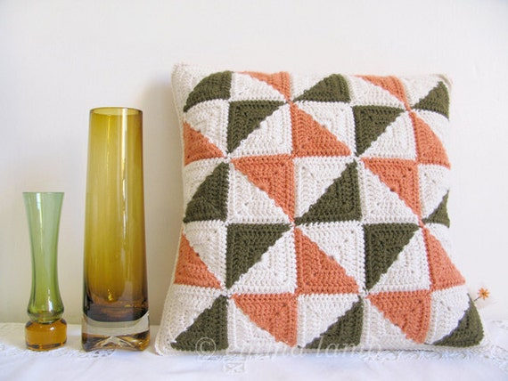 SAMPLE SALE crochet cushion cover... Mildred - pinwheel patchwork in olive, orange and cream ...Ready to ship