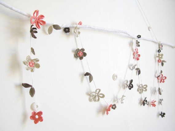 crochet flower garland... Pearl - coral pink, cocoa, taupe and pale grey blossom - MADE TO ORDER