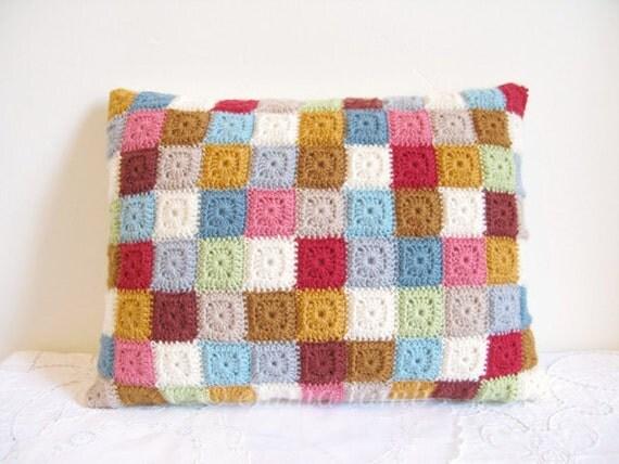 crochet cushion cover... Agnes - patchwork tiny squares ...Ready to ship