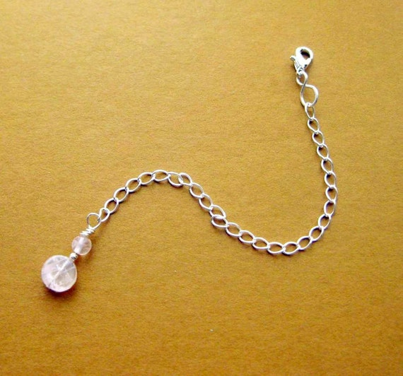 Attachable Extender Chain, Sterling Silver Necklace Lengthener. 4.75 inches. Rose Quartz.