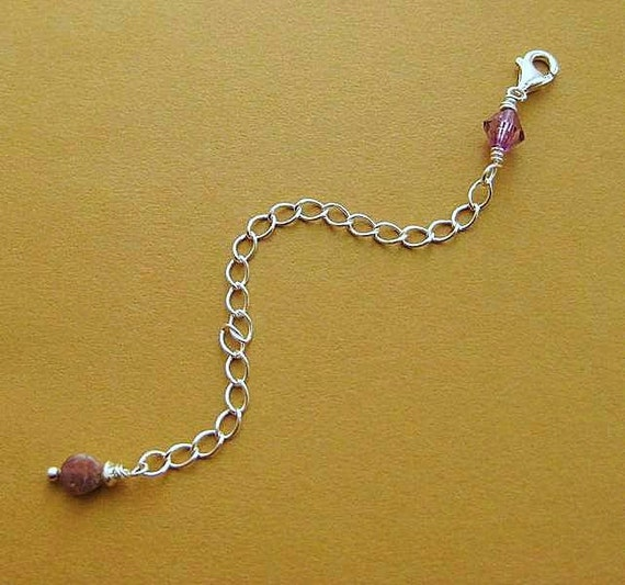 Silver Necklace Extender with Tourmaline. Sterling Silver Extender Chain. Lengthener. October Birthstone