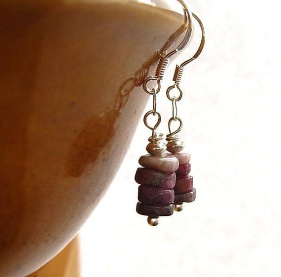 Pink Tourmaline Earrings. Sterling Silver. Fruit of the Forest