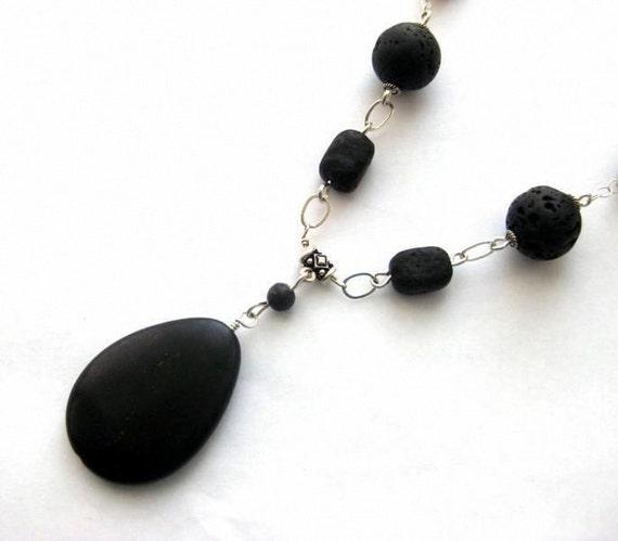 Black Statement Necklace, Lava, Irish Kilkenny Marble, Jasper Gemstones  Midnight in Ireland