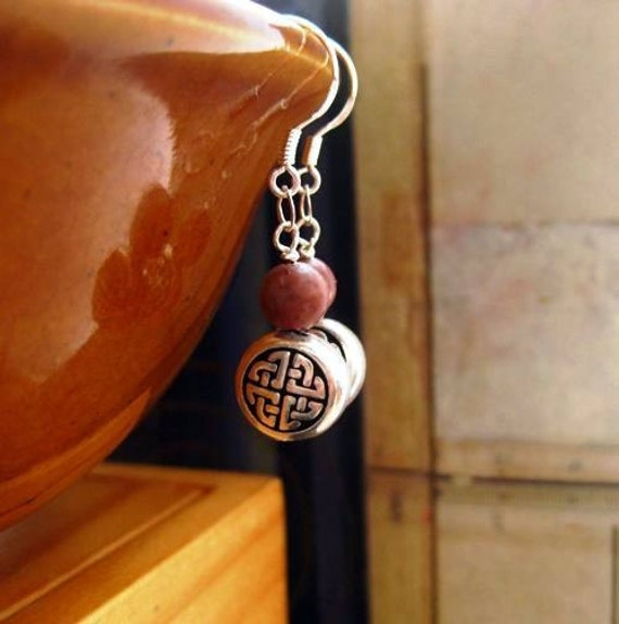 Irish Celtic Earrings. Cork Red Marble. Celtic Knot. Rare Stone.   Roisin