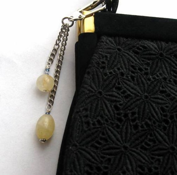 Spanish Citrine Purse Charm, Jeans Fob, or Zipper Pull. Lemon Yellow Stones.