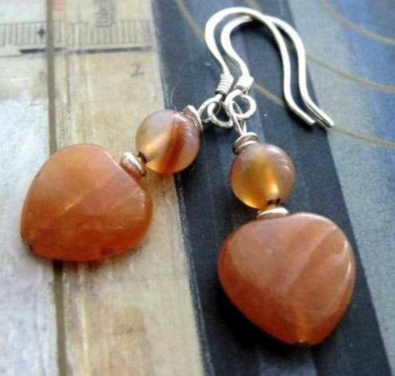 SALE Carnelian Heart Earrings. Sterling Silver.  Athena