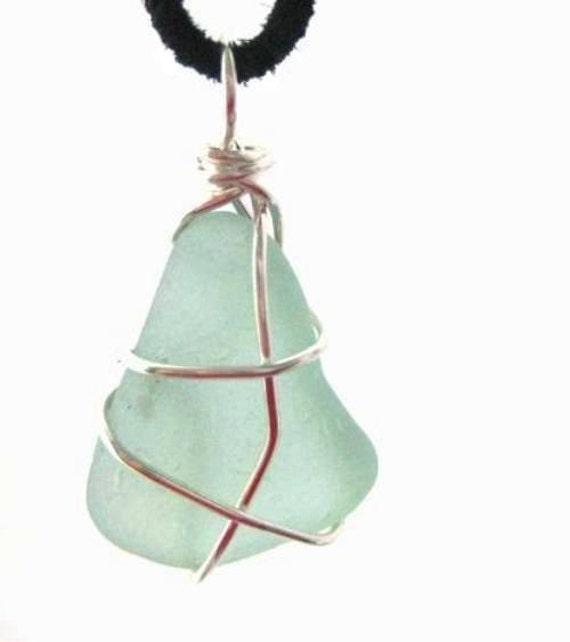 Irish Seaglass Pendant.  Pale Seafoam Beach Glass. Aquamarine Colour. Sea Sprite