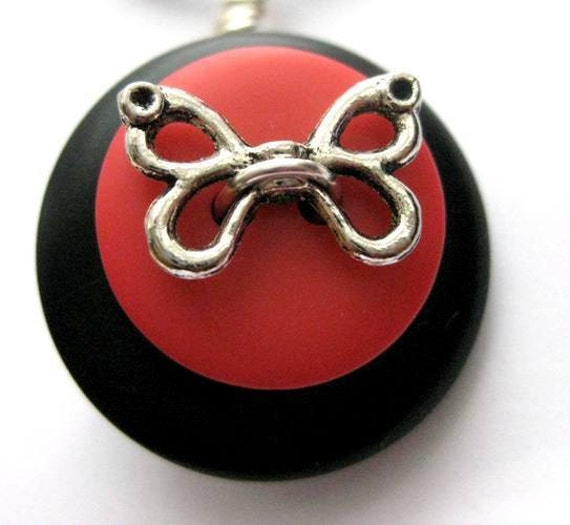 SALE Butterfly Button Pendant. Tomato Red and Black Button Pendant Necklace. Sally