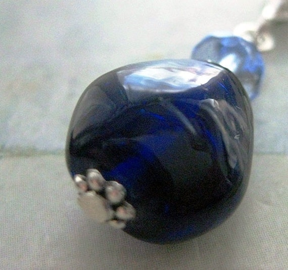 Sapphire Blue Pendant. Cobalt, Vintage Glass, Pale Blue Czech Glass, Sterling Silver Chain. Fire Ice.
