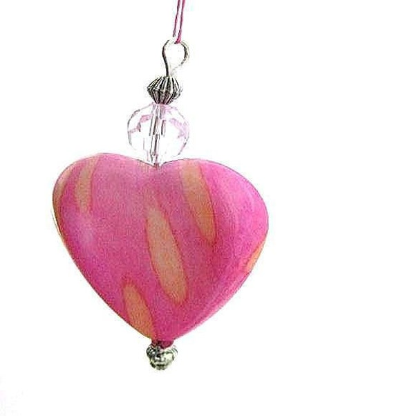 Pink Heart Ornament for Girl's Bedroom, Baptism Gift, Rear View Mirror Charm, Valentines