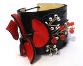 Leather cuff bracelet. Red Hearts Leather Cuff Bracelet.