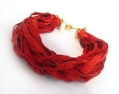 Red leather necklace. Red leather necklace. Lambskin bright red necklace