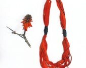 Long leather necklace. Multi strand red necklace