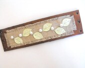 Leather bracelet with linen eco style