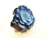 Blue flower leather bracelet corsage