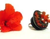 Red  leather ring Nature inspired leather jewelry