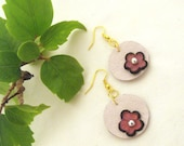 Flowers leather earrings