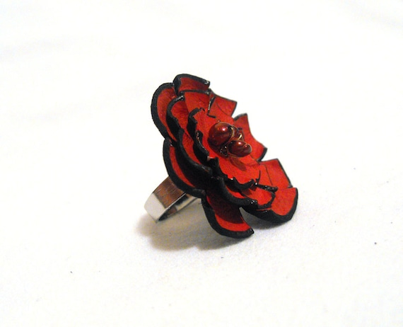 Leather red flower ring with pearls. Leather jewelry