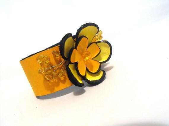 Orange flower leather bracelet