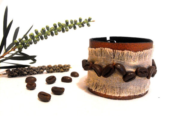 Coffee bean linen and leather bracelet. Leather jewelry