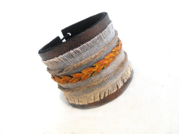 Braided tangerine leather bracelet with linen.