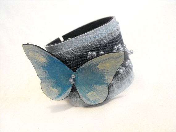 Denim and leather bracelet with butterfly