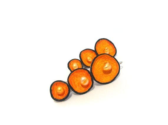 Orange pod dangle earrings with pearls Leather earrings