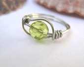 Petite birthstone ring, August birthstone, peridot green, teen jewelry, childs ring, wire wrapped jewelry, any size