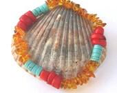 Santa Fe stretch bracelet, baltic amber bracelet, turquoise, red coral