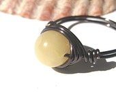 Yellow aragonite ring, wire wrapped, bronze cocktail ring