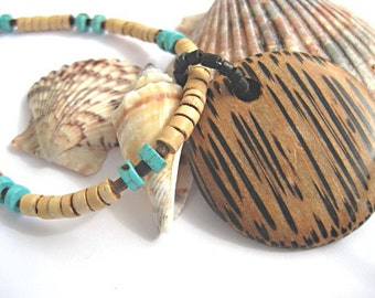 Beach jewelry - turquoise necklace - summer jewelry - surfer necklace - pendant necklace - summer fashion - wooden pendant necklace