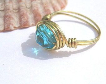Aqua blue ring, gold wire wrapped cocktail ring, any size