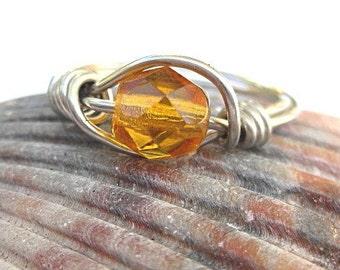 Petite birthstone ring November golden citrine glass, any size