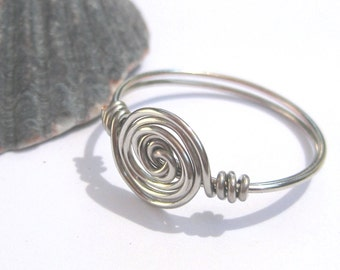 Spiral ring, silver ring, wire wrapped ring or toe ring, any size, wire rings, custom ring, spiral jewelry