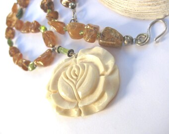 Carved rose necklace golden citrine and green peridot gemstone garden