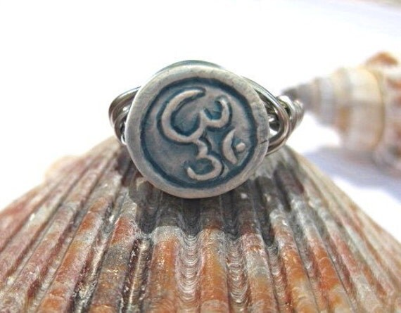 Ohm ring, yoga jewelry, wire wrapped ring, namaste, zen, om ring, blue ring, trendy jewelry, fashion, gift for her, wire wrapping