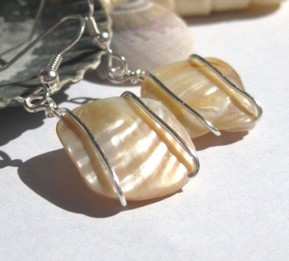 Mother of pearl earrings, wire wrapped