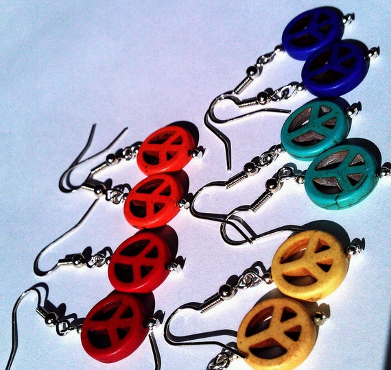 Peace sign earrings, choice of colors, one pair