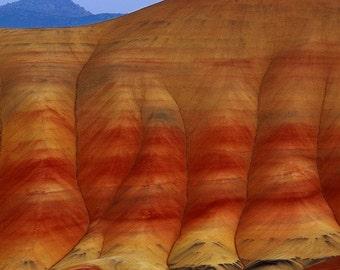 "Nature Photography ""Painted Hills Moonrise"" Photo, Red Orange Desert Photograph, Oregon Landscape Southwest Wall Decor  Moon Photo Print"