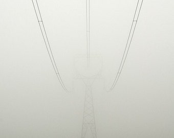 "Foggy Photo ""Vanishing Power""Nature Photography,Foggy Landscape,Wall Decor,Minimalist Art,White Sky,Green Field,Modern Art, Giclee Print"