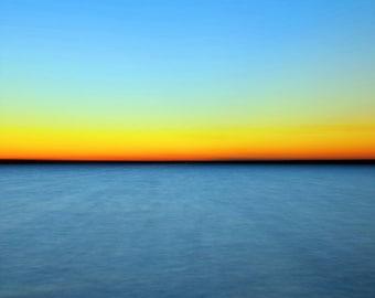 "Abstract Nature Photography ""Horizons"" Lake Sunset Photo, Blue Yellow Orange Sky, Modern Wall Decor, Minimalist Abstract Art  Photo Print"