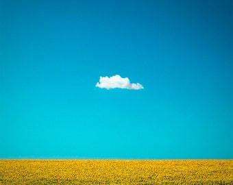 "Nature Photography ""The Happy One"" Lone Cloud, One Cloud, Blue Sky, Yellow Sunflower Field, Summer Home Wall Decor, Fine Art Photo Print"