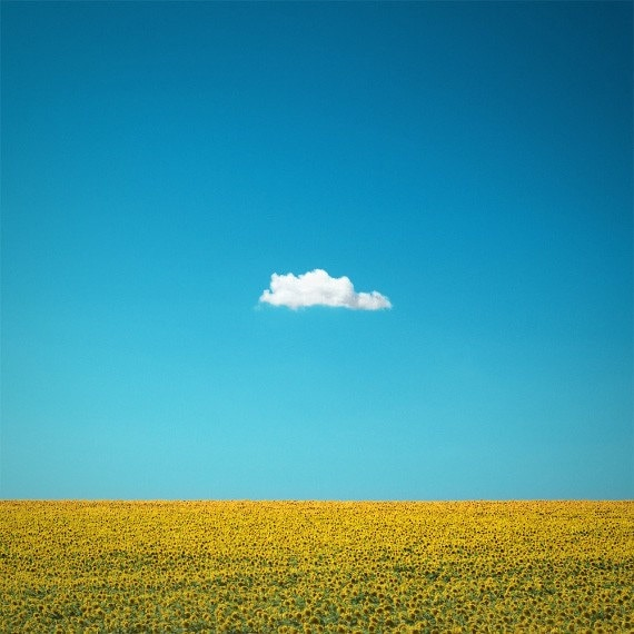 """Simple Nature Photography """"The Happy One"""" Lone Cloud Photo, Blue Sky Art, Yellow Sunflower Photo, Summer Art Minimal Wall Decor, Cloud Print"""