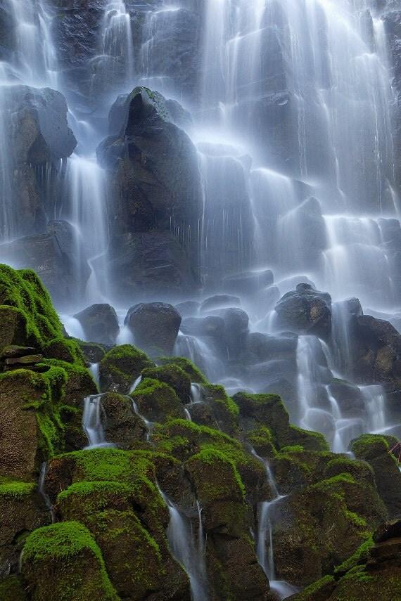 "Waterfall Nature Photography ""Ramona Falls"" Mount Hood Oregon Landscape, Moss Green, Mossy Rock Blue Water, Aqua Wall Decor  Photo Print"