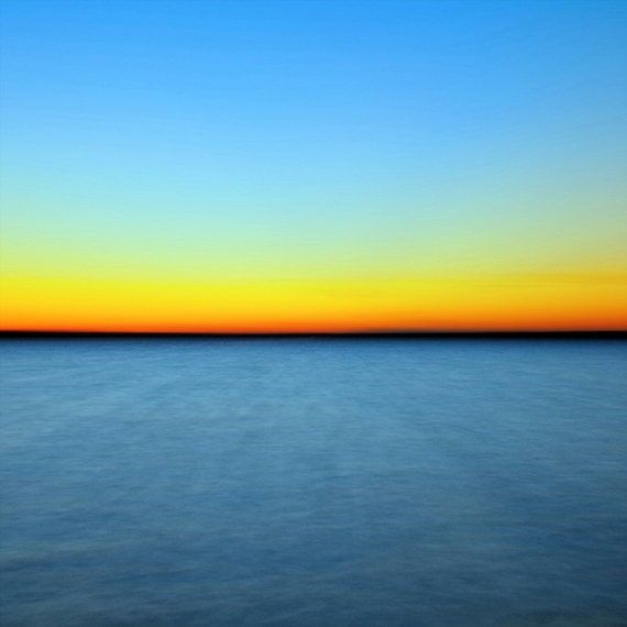 "Abstract Nature Photography ""Horizons"" Lake Sunset Photo, Blue Yellow Orange Sky, Modern Wall Decor, Minimalist Abstract Art  Photo Print"