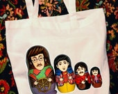 The Beatles Russian Nesting Dolls, aka The Beatles Babushka Dolls Canvas Cotton Tote Bag By TrulySanctuary. Green, Reusable, Lunch Bag, Book Bag, Hobby Bag, Craft Bag, Project Bag, Sewing Bag, Knitting Bag, Crocheting Bag, Needlepoint Bag, Party Favor