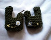 Green Zombie Bunny Twins zipper pulls (2 inches wide) (UK Seller Ships Internationally)