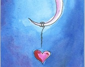 LOVE Whimsical Crescent Moon Night Sky Greeting Card